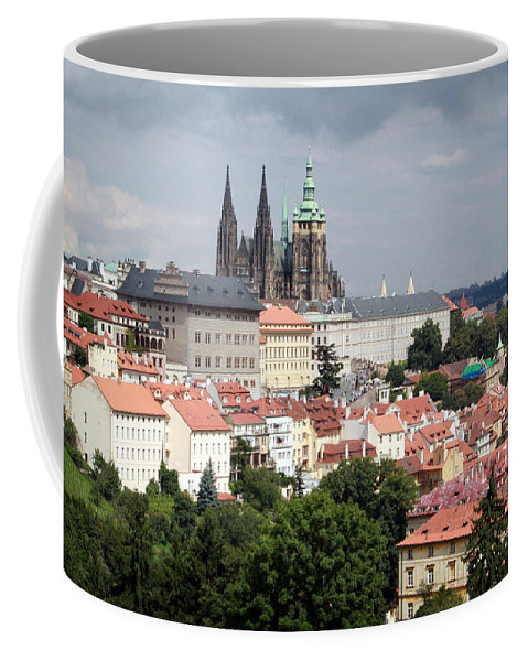 Prague Coffee Mug featuring the photograph Red Rooftops Of Prague by Linda Woods