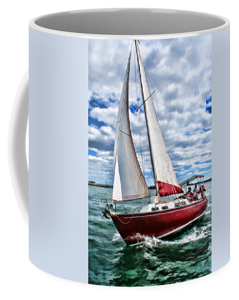 Scenery Coffee Mug featuring the painting Red Sailboat Green Sea Blue Sky by Elaine Plesser