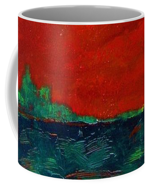 Landscape Coffee Mug featuring the painting Red Sky by Vesna Antic