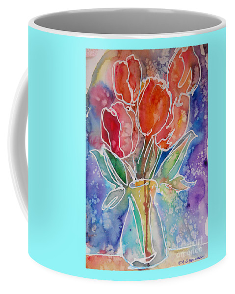 Tulips Coffee Mug featuring the mixed media Red Tulips by M c Sturman