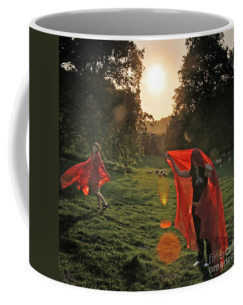 Girls Coffee Mug featuring the photograph Red Witches Dance by Angel Ciesniarska