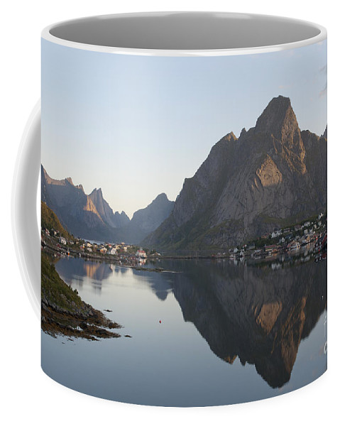 Norway Coffee Mug featuring the photograph Reine Village In Early Morning Light by Heiko Koehrer-Wagner