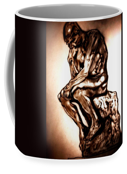 Rodin Coffee Mug featuring the drawing Remembering Rodin by Herbert Renard