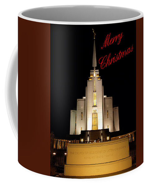 Christmas Cards Coffee Mug featuring the photograph Rexburg Temple At Night Christmas by DeeLon Merritt