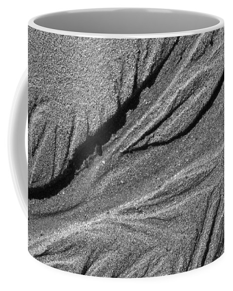 Sand Coffee Mug featuring the photograph Ripples In The Sand Black And White by Glenn Gordon