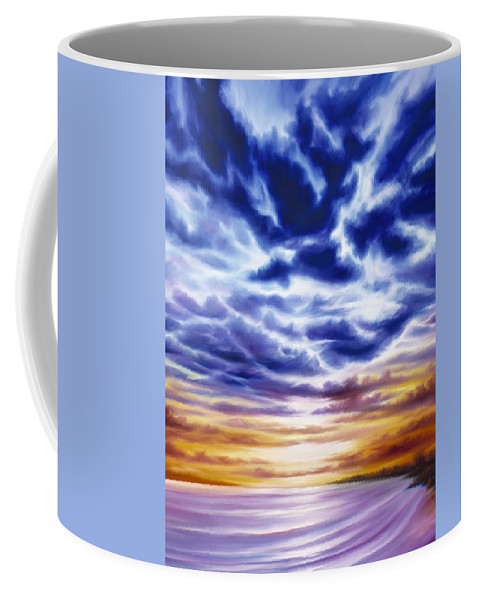 Sunrise; Sunset; Power; Glory; Cloudscape; Skyscape; Purple; Red; Blue; Stunning; Landscape; James C. Hill; James Christopher Hill; Jameshillgallery.com; Ocean; Lakes; Sky; Contemporary; Yellow; Ocean; River; Water Coffee Mug featuring the painting Rise by James Christopher Hill