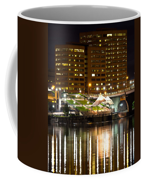 Ct River Coffee Mug featuring the photograph River Front At Night by Frank Pietlock