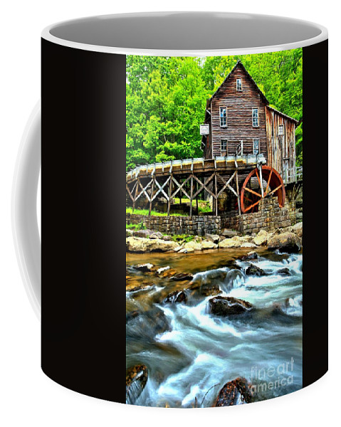 Babcock State Park Coffee Mug featuring the photograph River Rock And A Grist Mill by Adam Jewell