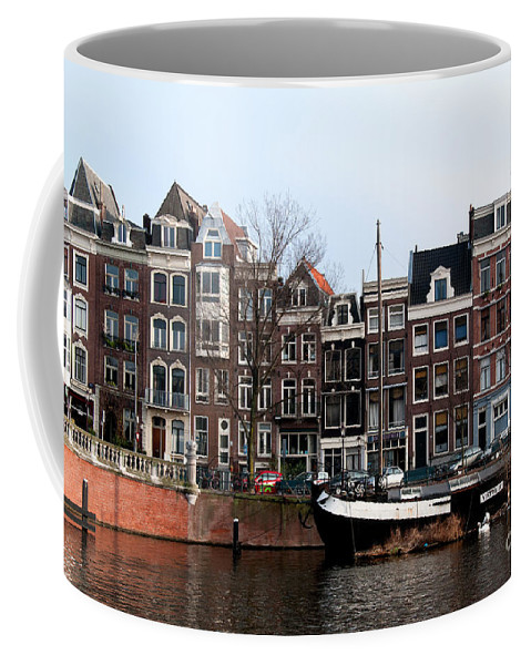 Along The River Coffee Mug featuring the digital art River Scenes From Amsterdam by Carol Ailles