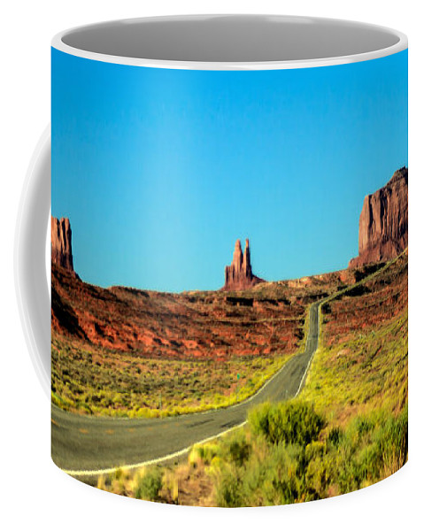Monument Valley--navajo Coffee Mug featuring the photograph Road To Paradise by Robert Bales