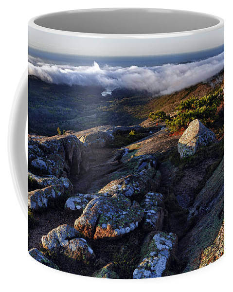 Cadillac Mountain Coffee Mug featuring the photograph Rock And Fog by Rick Berk