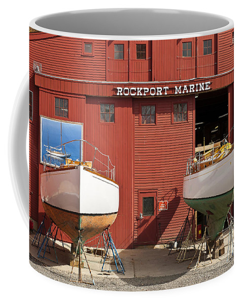 Boat Builder Coffee Mug featuring the photograph Rockport Marine by John Greim