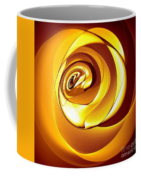 Gold Rose Coffee Mug featuring the digital art Rose Series - Gold by Klara Acel