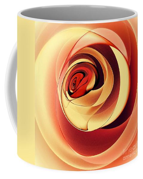 Pink Rose Coffee Mug featuring the digital art Rose Series - Pink by Klara Acel