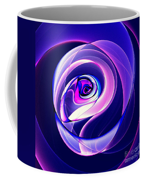Violet-colored Rose Coffee Mug featuring the digital art Rose Series - Violet-colored by Klara Acel