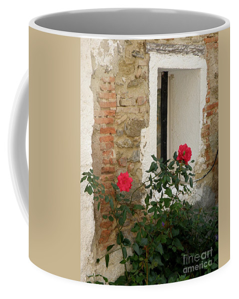Red Coffee Mug featuring the photograph Roses And Antiquity by Lainie Wrightson