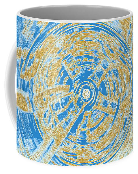Wheel Coffee Mug featuring the digital art Round And Round Blue And Gold by Debbie Portwood