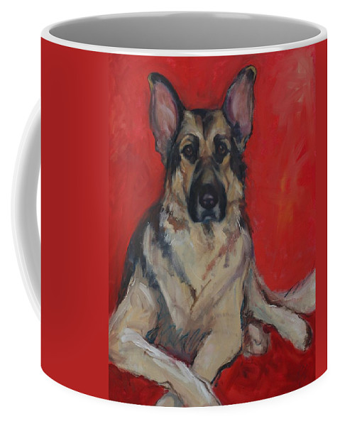 Dog Coffee Mug featuring the painting Ruby by Pet Whimsy Portraits