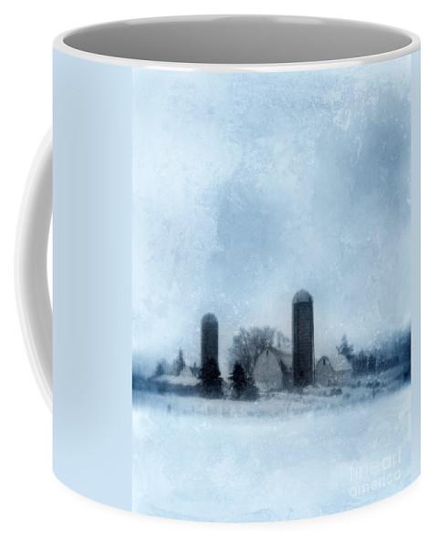 Farm Coffee Mug featuring the photograph Rural Farm In Winter by Jill Battaglia