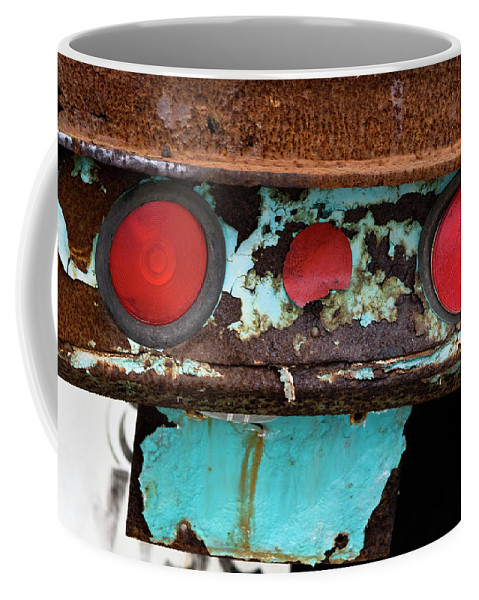 Taillight Coffee Mug featuring the photograph Rusted Blue Taillight by Lorraine Devon Wilke