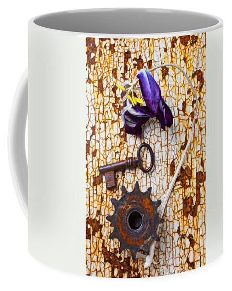 Dead Coffee Mug featuring the photograph Rusty Key And Gear by Garry Gay