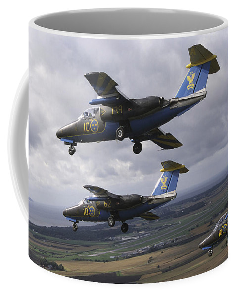 Team 60 Coffee Mug featuring the photograph Saab 105 Jet Trainers Of The Swedish by Daniel Karlsson