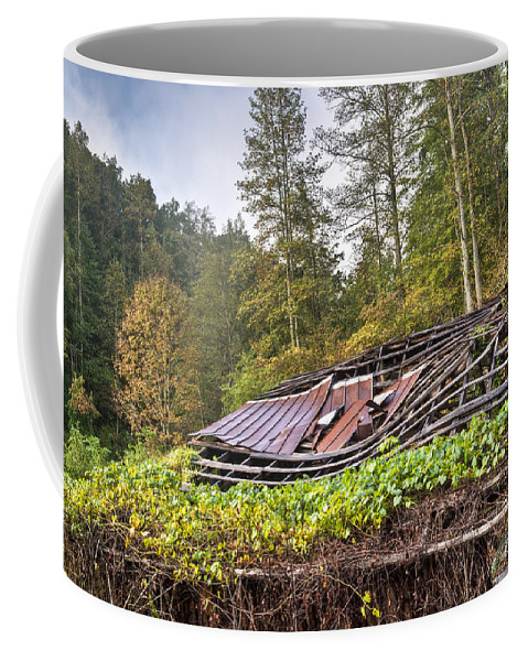 Roof Coffee Mug featuring the photograph Sagging Rooftop 1 by Douglas Barnett