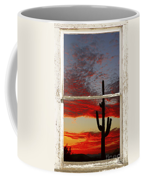 Window Coffee Mug featuring the photograph Saguaro Sunset Picture Window View by James BO Insogna