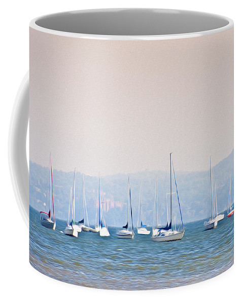 Sailboats On The Hudson - Nyack New York Coffee Mug featuring the photograph Sailboats On The Hudson - Nyack New York by Bill Cannon