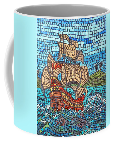 Ocean Coffee Mug featuring the painting Sailing Home by Cynthia Amaral