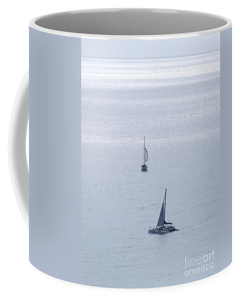 Mary Deal Coffee Mug featuring the photograph Sailing In The Glow by Mary Deal