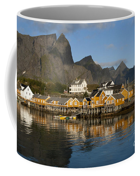 Norway Coffee Mug featuring the photograph Sakrisoy Fishermen's Village by Heiko Koehrer-Wagner