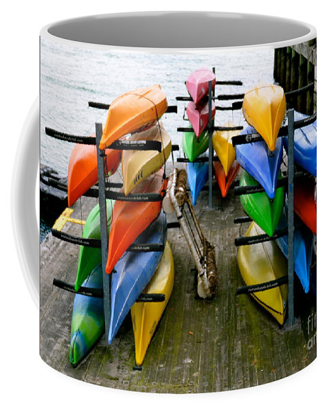 Kayak Coffee Mug featuring the photograph Salma Kayaks by Debbi Granruth