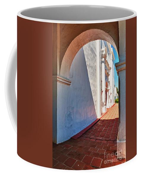 Hdr Coffee Mug featuring the photograph San Luis Rey Courtyard by Sandra Bronstein