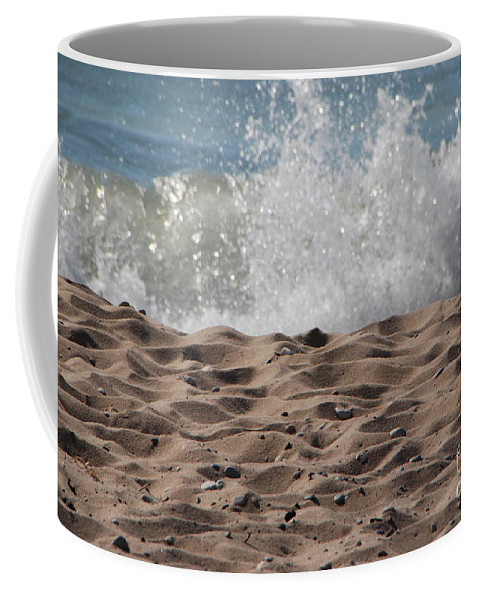 Beach Coffee Mug featuring the photograph Sand And Surf by Grace Grogan