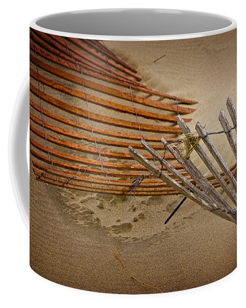 Art Coffee Mug featuring the photograph Sand Fence Falling Down On The Beach by Randall Nyhof