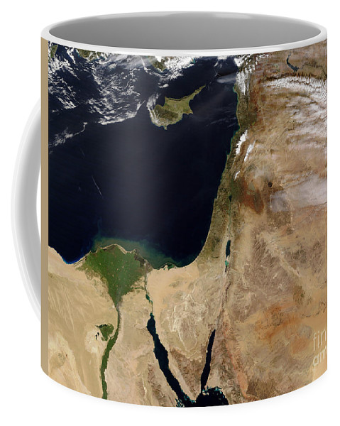 Color Image Coffee Mug featuring the photograph Satellite View Of The Middle East by Stocktrek Images