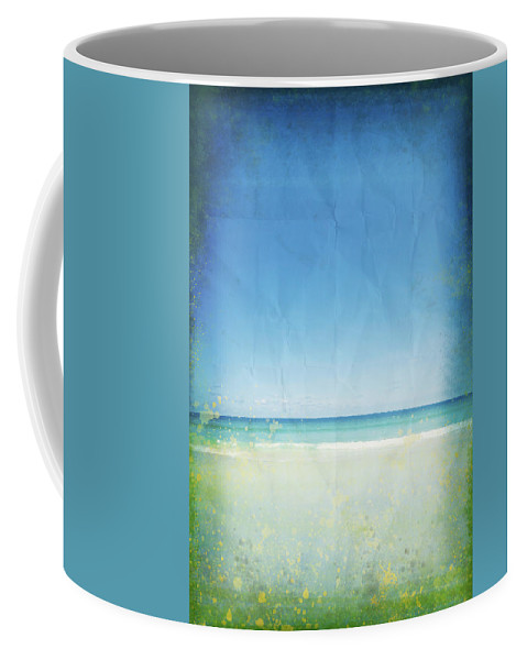 Abstract Coffee Mug featuring the photograph Sea And Sky On Old Paper by Setsiri Silapasuwanchai