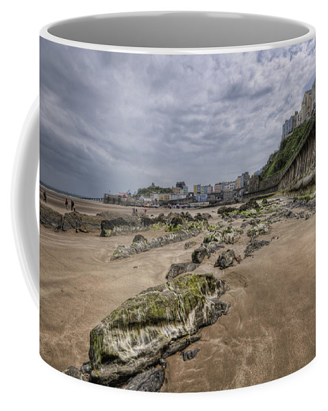 Tenby Harbour Coffee Mug featuring the photograph Seaweed Rocks Tenby by Steve Purnell
