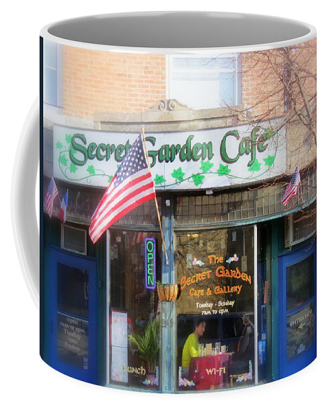Patriotic Coffee Mug featuring the photograph Secret Garden Cafe by Kay Novy