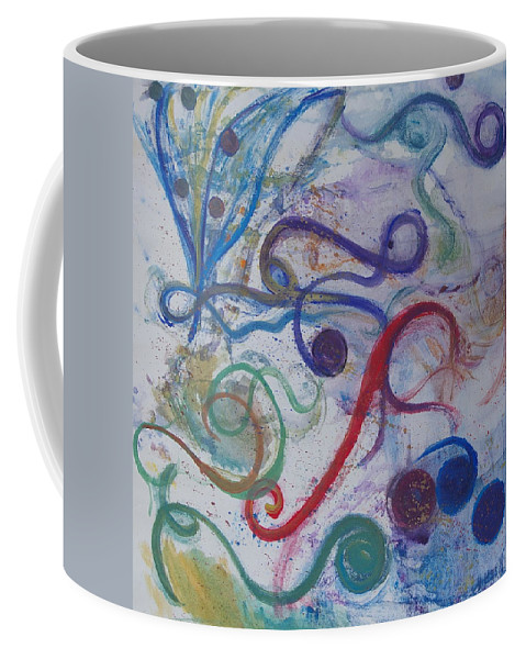 Abstract Art Coffee Mug featuring the painting Seedpods In A Breeze by Claudia Smaletz