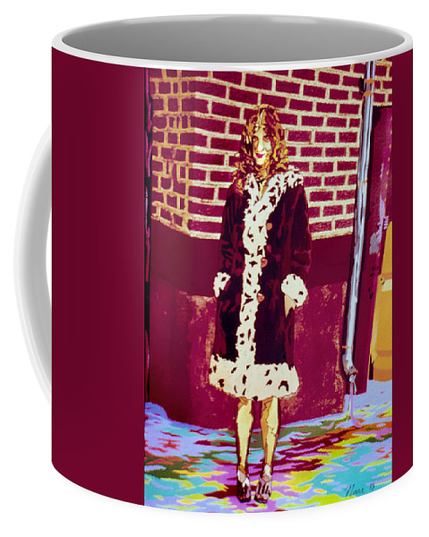 Potrait Coffee Mug featuring the mixed media Self Paintlet 1975 by Nancy Griswold