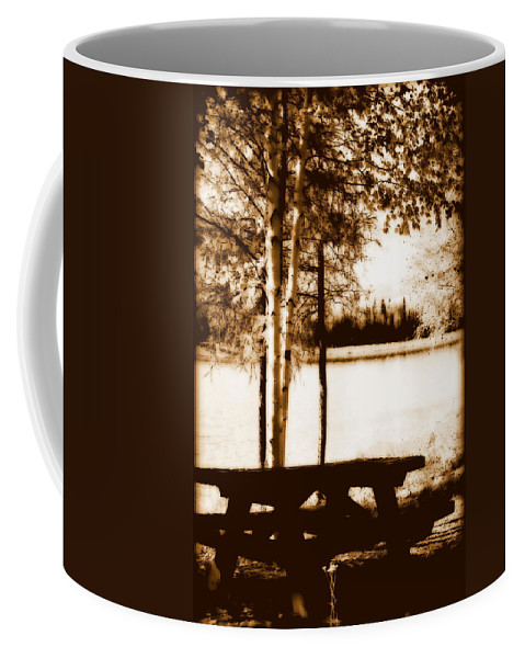 Chena Coffee Mug featuring the photograph Sepia Picnic Table Lll by Kathy Sampson