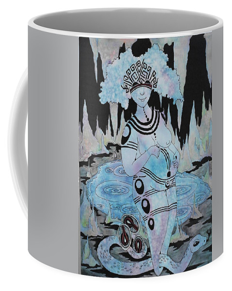 Goddess Coffee Mug featuring the painting Serpent Cave by Faeriebluemoon Creations Tressure Hardcastle
