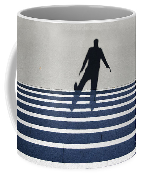 Shadow Coffee Mug featuring the photograph Shadow Walking The Stairs by Mats Silvan