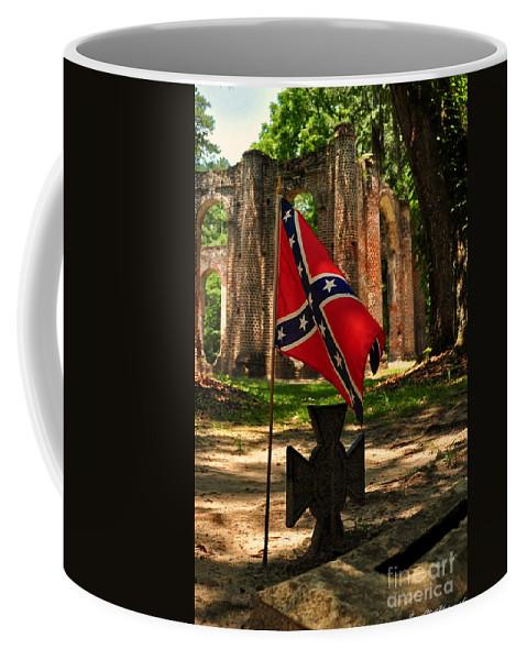 Grave Coffee Mug featuring the photograph Sheldon Church Ruins Gravesite by Susan Cliett