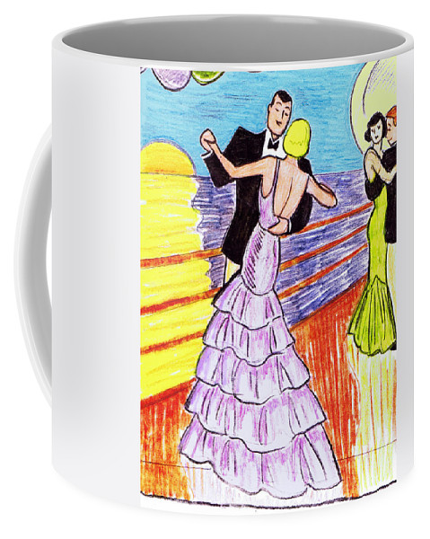 Nostalgia Coffee Mug featuring the drawing Shipboard Dancers by Mel Thompson
