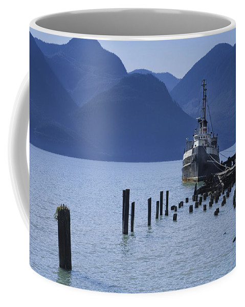 Art Coffee Mug featuring the photograph Shipping Freighter In Squamish British Columbia No.0201 by Randall Nyhof