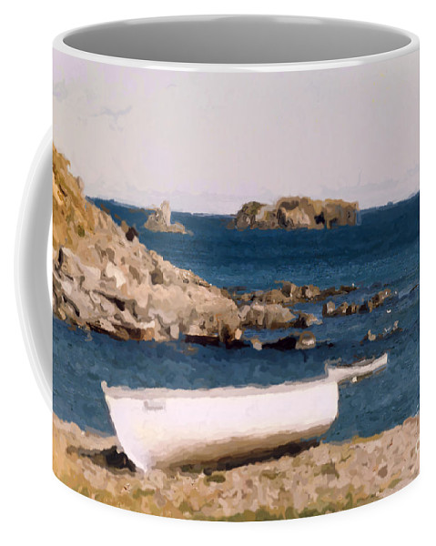 Scenery Coffee Mug featuring the photograph Shoreline Boat by Mary Mikawoz