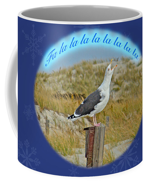 Christmas Coffee Mug featuring the photograph Singing Seagull Christmas Card by Mother Nature